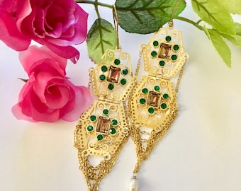 Filigree Chain Drape Chandelier Earrings -  gold statement earrings with Swarovski Green emerald and Topaz crystals