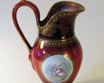 Porcelain Burgandy Pitcher/Vase With Hand-Painted Gold Trim