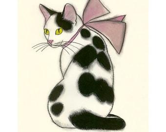 "Cat print  Cat Drawing.Pretty in pink - 4"" X 6"" cat print - 4 for 3 SALE"