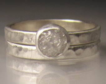 Custom Raw Diamond Ring, Hammered Rough Diamond Ring, Palladium Sterling Silver, Made to Order