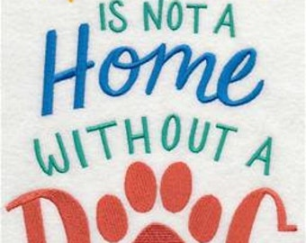 House with a Dog Embroidered Towel | Tea Towel | Kitchen Towel | Embroidered Tea Towel | Dish Towel | Flour Sack Towel