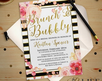 Floral and Gold Striped Bridal Shower Invitation Printable DIY No. I267