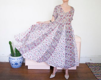 Long Pink and Gold Floral Summer Dress