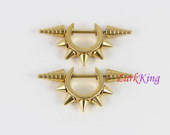 Spike stud earrings, gold earrings, statement earrings, stainless steel earrings, men earrings, guy studs, women earrings, LarkKing ER486
