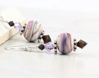 Lampwork Earrings Brown Crystal Lavender Lilac Mocha Mauve Cream Mothers Day Jewelry