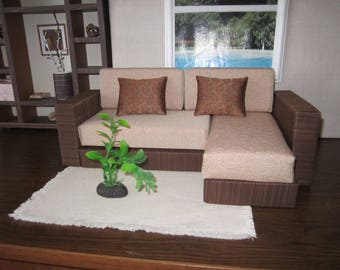 Designer Quality Beige/Brown Angle BARBIE SOFA. The best gift for your Doll !