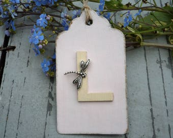 Pink gift tag with personalised initial and dragonfly detail-gift wrap-hang tag