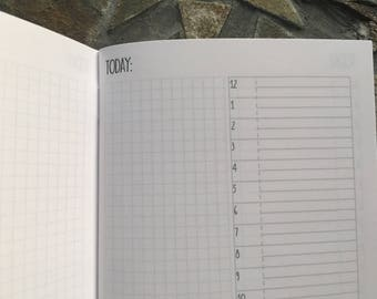 DAILY Timed 24-Hours + Grid STANDARD Traveler's Notebook Planner Insert [40 DAYS]