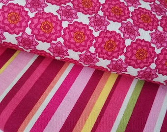 Pink Floral Cotton Fabric or Pink Multi Stripe Cotton Fabric