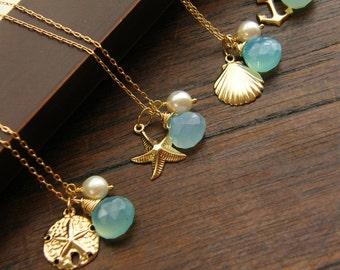 Nautical Gold Beach Wedding Jewelry, Keepsake Necklace, Blue Stone necklace, Gold Necklace, Beach Wedding Necklace, Bridesmaids Gifts