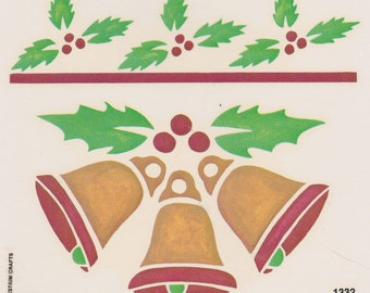 Christmas Bells Holly Decal Stencil Look 1984 Country Classic Decals with Instructions