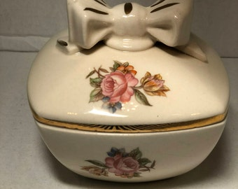 Antique Ivory Porcelain Jewelry/Trinket box with Bow Handle 1930's