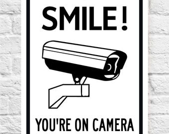 SMILE! You're On Camera Sign | Security Sign | Video Camera Surveillance Sign | Price includes the shipping.
