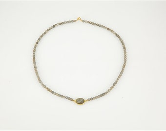 """18"""" Necklace  Featuring Labradorite Beads"""