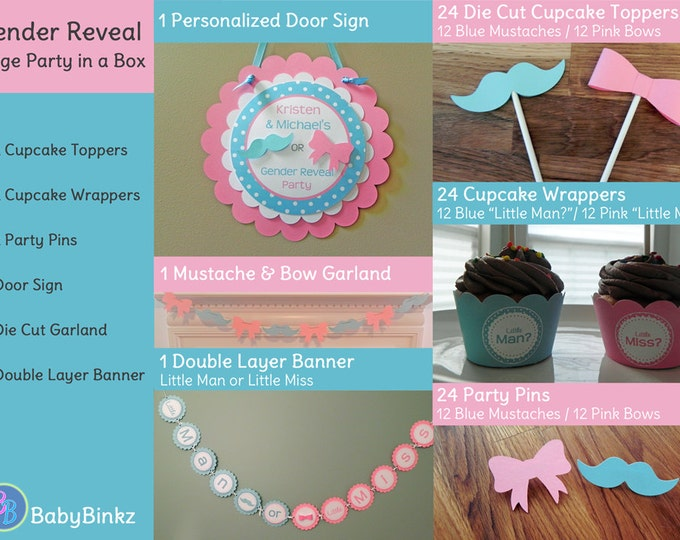 Gender Reveal Large Party in a Box - Little Man or Little Miss Decorations package set die cut bow mustache blue pink photo prop pin game