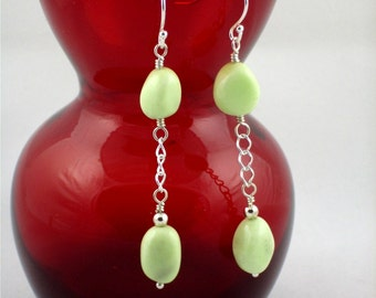 Pale Green Chrysoprase Double Drop Earrings