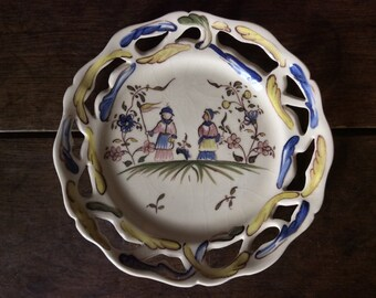Vintage English Girlfriend Country Farming Workers Openwork Plate circa 1980's / English Shop