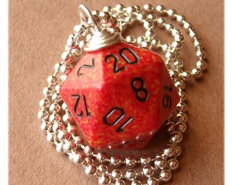 D20 Die Pendant -  Fire - Orange Red Black Geek Gamer DnD Role Playing RPG - Paw & Claw Designs