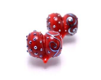 handmade red jewelry bead jewelry making set red bead glass heart shape bead Murano style bead artisan lampwork glass making red heart shape