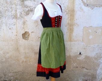 Vintage 1970/70s Tyrol Austria October fest dirndl dress embroidered + white cotton mini blouse & apron  /size  M