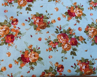 Rose Garden, blue cotton canvas linen - 150 cm wide