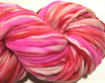 Super Bulky Handspun Yarn Cupid 104 yards hand dyed wool pink yarn red yarn waldorf doll hair knitting supplies crochet supplies