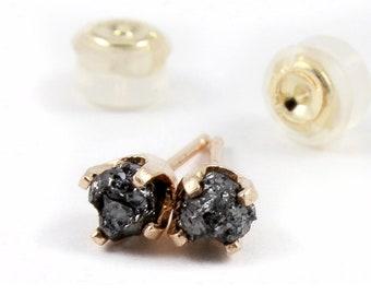 14K Yellow Gold Stud Earrings with Black Diamonds - Rough Uncut Diamonds - Gold Post Ear Studs - April Birthstone