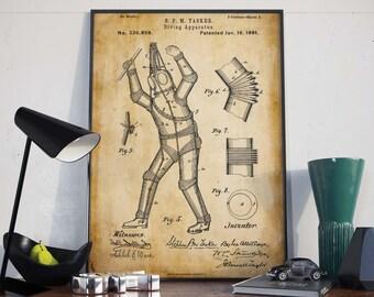 Dive Suits| Vintage Scuba| Wetsuits| Scuba Diver Gift| Scuba Diver| Scuba| Diving Print| Scuba Art| Scuba Poster| Scuba Wall Art| HPH085