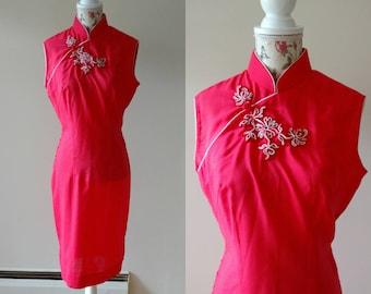vintage 1960s red cheongsam dress