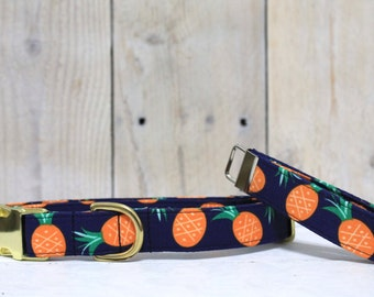Pineapple Dog collar, navy blue dog collar, boy dog collar, girl dog collar, handmade dog collar, dog collars, dog accessories, puppy collar