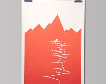 PERSONALISED Cycling Art Print 'L'Alpe d'Huez - Tour de France Climb'