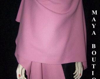 Romantic Ruana Cape Coat Wrap Cashmere Wool Blend in Blush by Maya