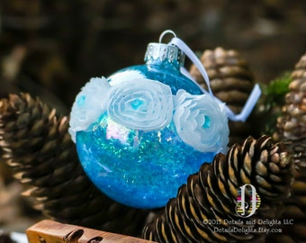 Romantic Aqua Teal Turquoise Diamond Glass Round Ornament, German Tinsel Glitter Crystal Bead Gem Christmas Holiday Tree Decor