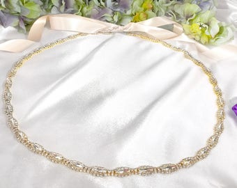 Super Sleek Gold Wrap Around Wedding Belt, Skinny Gold Sash, Thin Crystal Bridal Belt, Crystal Rhinestone Sash, Bridesmaid, Simple Gold Belt