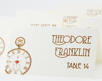 Pocketwatch Place Card Custom Handmade Offbeat Steampunk Wedding Decor Escort Your Guest Names New Years Eve