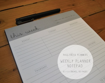 Weekly Planner Notepad, Week Planner, Notepad, To Do List, Time Planner, Day Planner