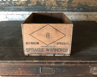 Vintage Spragus Warner Co Apricot Crate Rustic Decor