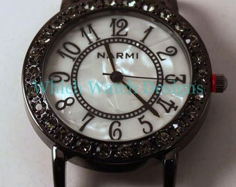 Gunmetal Round.. Interchangeable Antique Marcasite Look Watch Face with Rhinestones, Beaded Watches