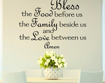 Bless The Food Before Us Wall Decal Quote Prayer Stickers Vinyl Sayings Dining Room Wall Art Kitchen Decor- Kitchen Wall Decal Q166