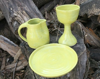 Chartreuse Dragonfly Communion Set Handmade Pottery by Daisy Friesen
