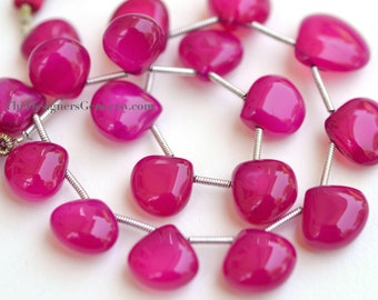 Raspberry Pink Chalcedony Smooth Polish Heart Briolettes 8 to 10mm- 1/2 STRAND