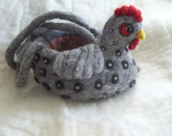 Chicken bag  wool needle felted purse
