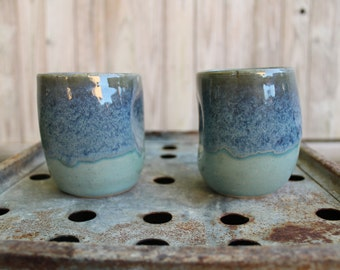 Soft blue dented tumblers, set of 2