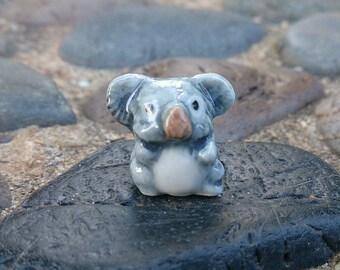 Micro Tiny Koala Figurines Hand Painted Ceramic Animals Collectible Small Gift Home Decor