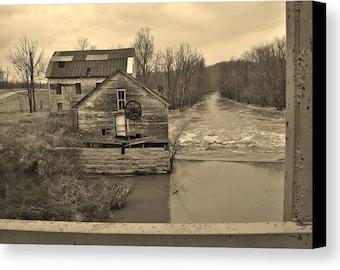 Ancien abandonné moulin noir et blanc Art Photo Wall Decor fait maison sur commande
