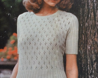 PDF vintage knitting pattern pdf INSTANT download lacy summer top pattern only pdf 1970s