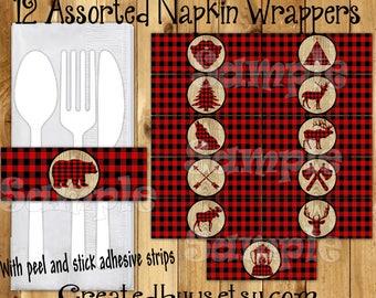 Lumberjack Napkin wraps Lumberjack Baby shower Decorations Lumber jack napkin bands Paper napkin ring holder utensil wraps 12 printed