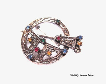 Silver Scottish Kilt Pin, Vintage Rhinestone Brooch