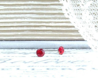 4mm Red Crystal Studs Tiny Stud Earrings Red Stud Earrings Surgical Steel Solitaire Studs