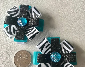 Fancy Ribbon hair bows on alligator clips, girls/toddler girls, irredescent jewelled centre, turquoise, black and zebra ribbon